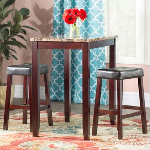 Daisy 3 Piece Counter Height Pub Table Set & Bar Height Kitchen Table Set | Wayfair