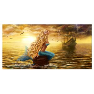 'Sea Mermaid with Ghost Ship' Graphic Art on Wrapped Canvas by Design Art