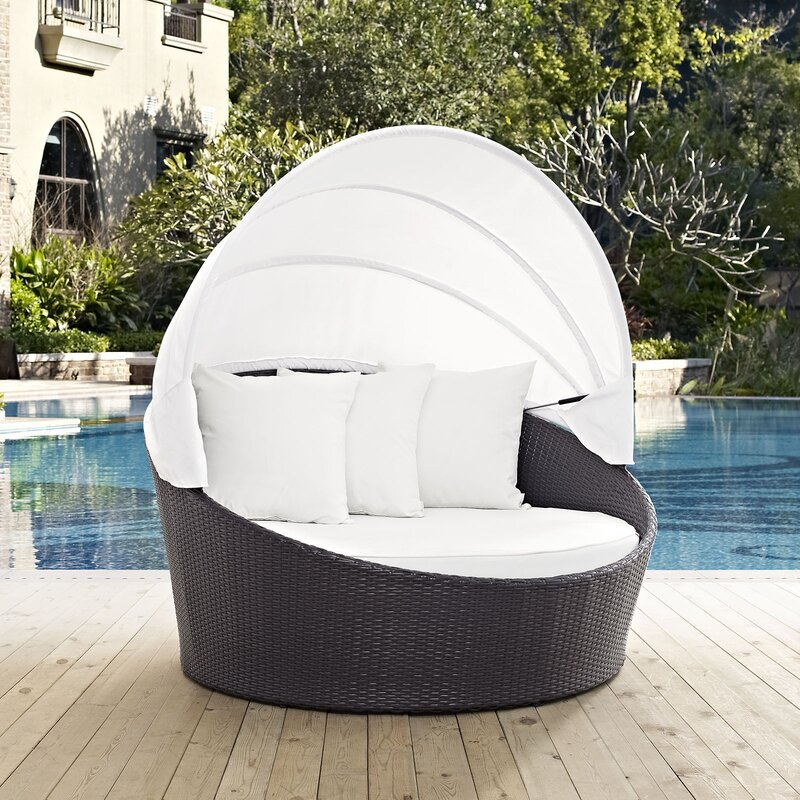 Ryele Canopy Outdoor Patio Daybed with Cushions