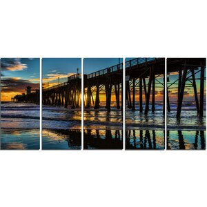 Metal 'Oceanside Pier at Evening' Photographic Print by Design Art