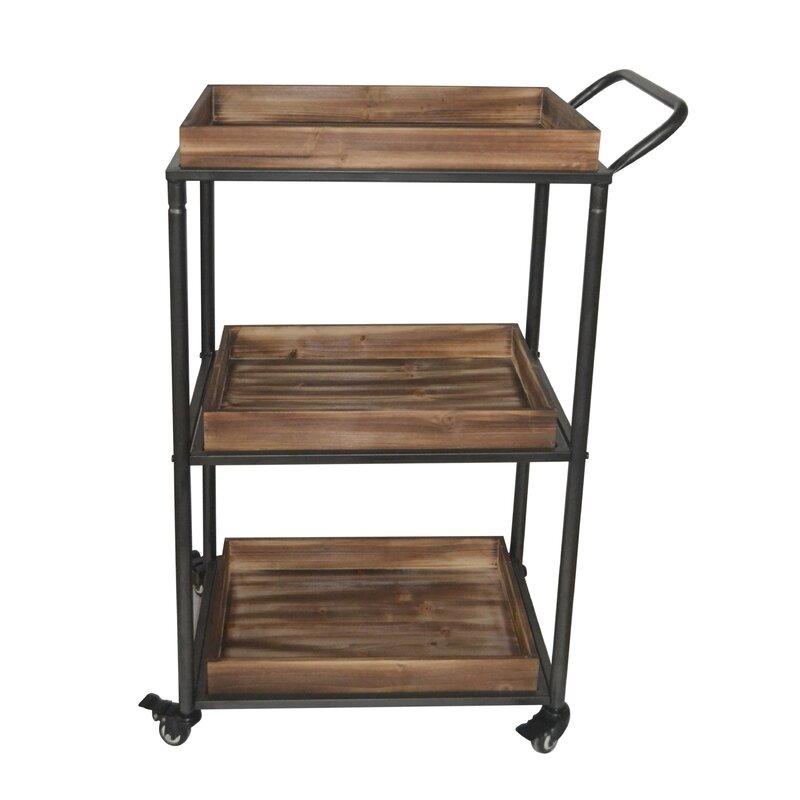 3 tier bar cart wine rack anvesh tier bar cart reviews allmodern