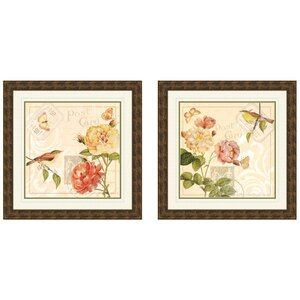 Floral Giclee 2 Piece Framed Drawing Print Set (Set of 2) by PTM