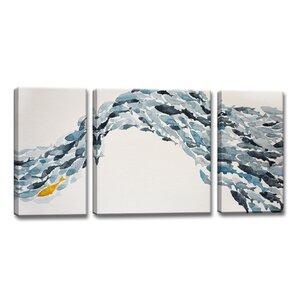 'Goldfish' by Norman Wyatt Jr. 3 Piece Painting Print on Wrapped Canvas Set by Ready2hangart