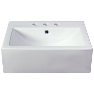 Compare Xena Farmhouse Ceramic Rectangular Vessel Bathroom Sink with Overflow By American Imaginations