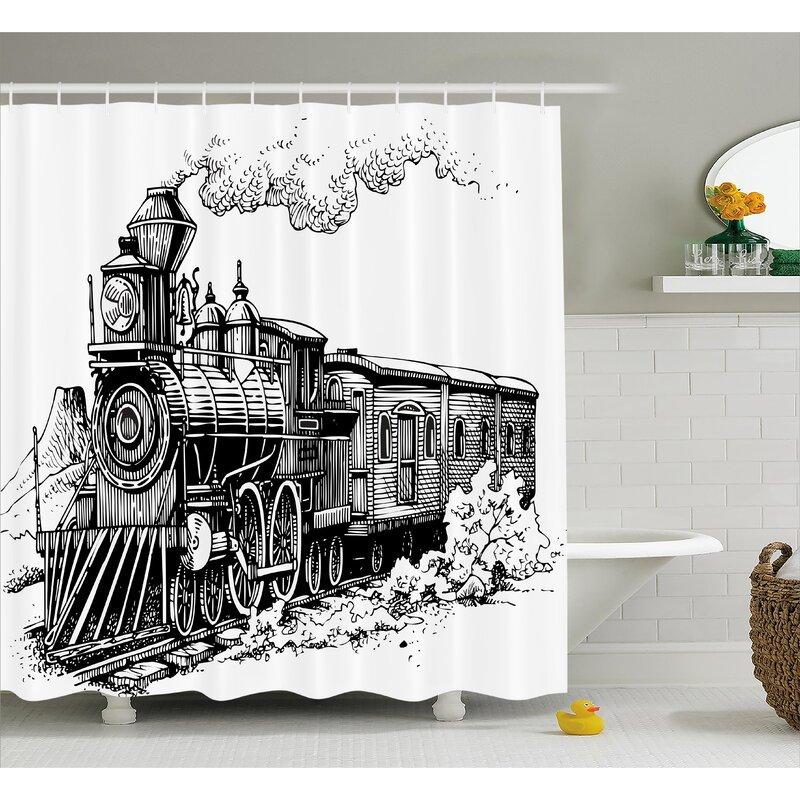 Zoomie Kids Jana Steam Engine Rustic Old Train Shower Curtain   Wayfair