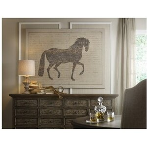 French Linen Horse and Script Graphic Art on Canvas by Tapestries, Ltd.