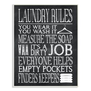 'Laundry Rules Wear It Wash It Chalk Look' Textual Art on Canvas by Stupell Industries