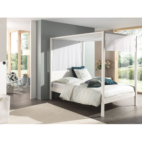 Beaumont Four Poster Bed Isabelle and Max Colour (Bed Frame): White, Size: European Double (140 x 200cm)