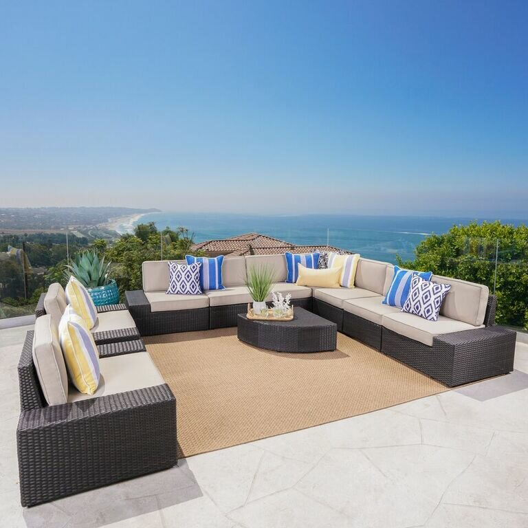 Rosanna 10 Piece Sectional Set With Cushions By Wade Logan