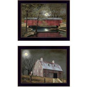 'Midnight Moon' 2 Piece Framed Graphic Art Print Set by Trendy Decor 4U
