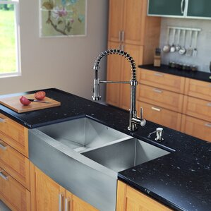 VIGO 36 inch Farmhouse Apron 60/40 Double Bowl 16 Gauge Stainless Steel Kitchen Sink with Edison Stainless Steel Faucet, T...