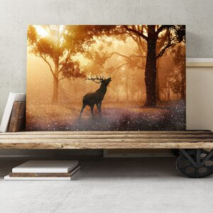 Stag in an Autumn Forest Landscape Photographic Print on Canvas