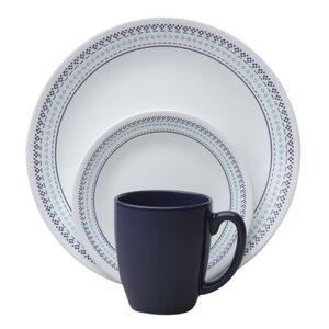 Livingwareu0099 Folk Stitch 16 Piece Dinnerware Set, Service for 4