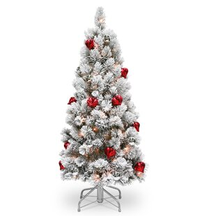 snowy bristle 45 white pine trees artificial christmas tree with 150 clearwhite lights - Christmas Tree With Lights And Decorations