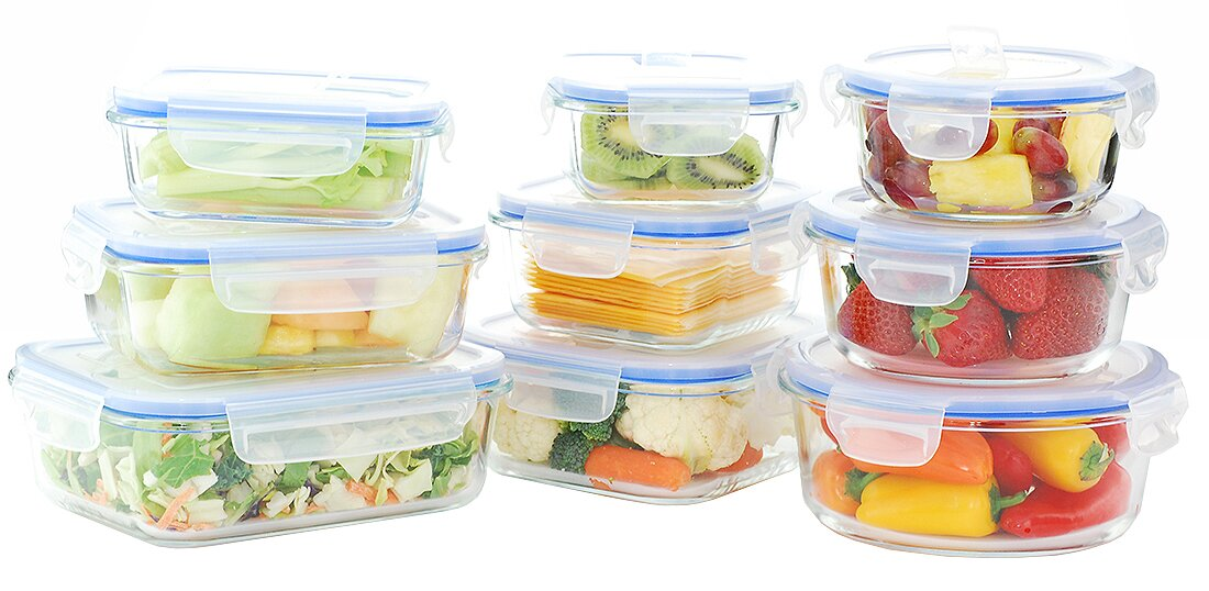 Go Green Glass Lock Elements Oven Safe 9 Container Food Storage Set