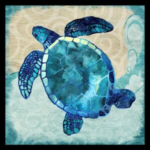 'Ocean Sea Turtle - Colorful Blue Green Coastal Nautical Sea Life' by Jill Meyer Framed Graphic Art by Buy Art For Less