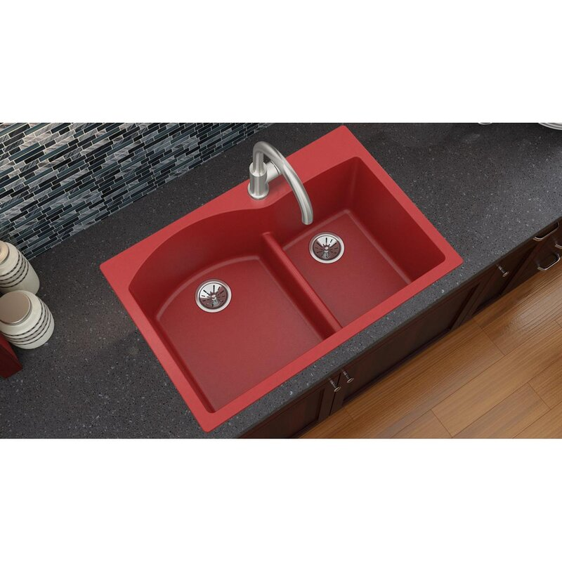 Red Kitchen Sink Elkay luxe 33 x 22 double basin drop in kitchen sink with aqua luxe 33 x 22 double basin drop in kitchen sink with aqua divide workwithnaturefo