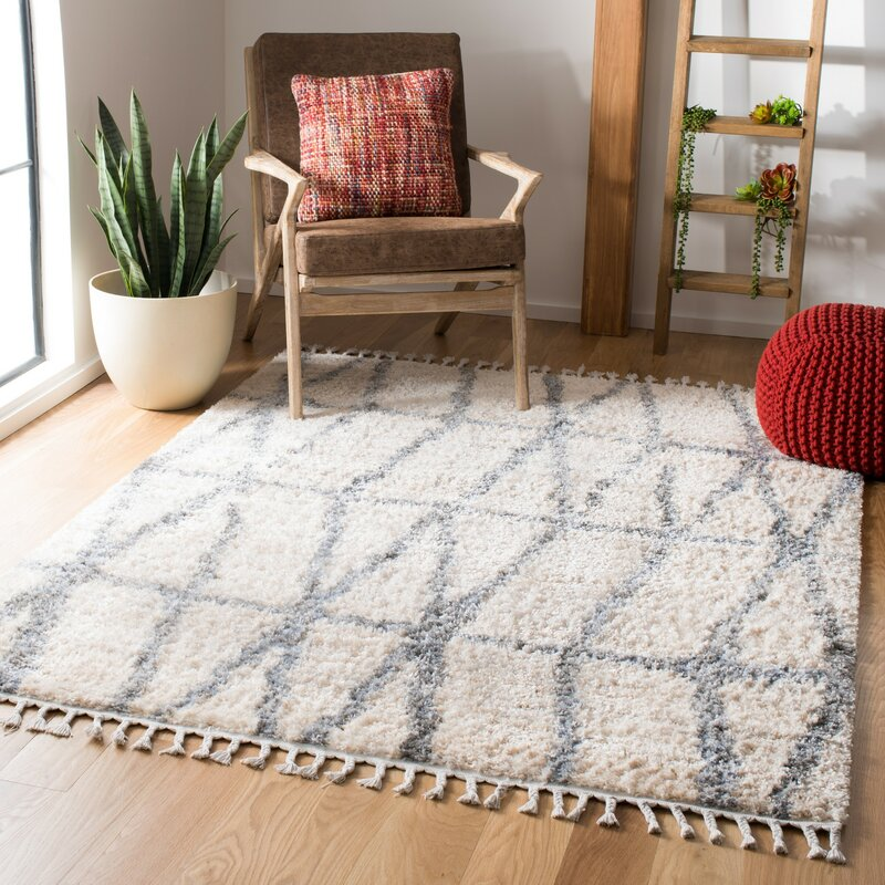 Union Rustic Triplett Geometric Cream Gray Area Rug Wayfair