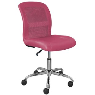 Armless Pink Leather Office Chairs
