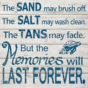 'Sand Salt Tans' Textual Art on White Wood by Beachcrest Home