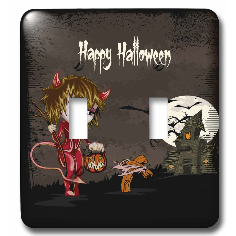 3drose Happy Halloween Devil Girl Trick Or Treating Haunted House Spooky Halloween Scene 2 Gang Toggle Light Switch Wall Plate Wayfair