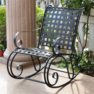 snowberry iron outdoor patio rocker