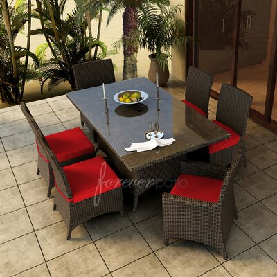 Hampton 7 Piece Dining Set with Sunbrella Cushions Forever Patio Fabric: Flagship Ruby / Flagship Ruby Welt