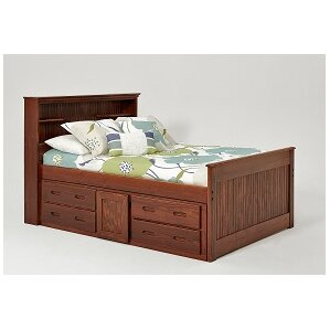 full captain bed with bookcase and under storage