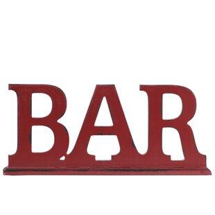 Chaudhry Wood Alphabet Tabletop Decor Bar Letter Blocks On Rectangular Stand