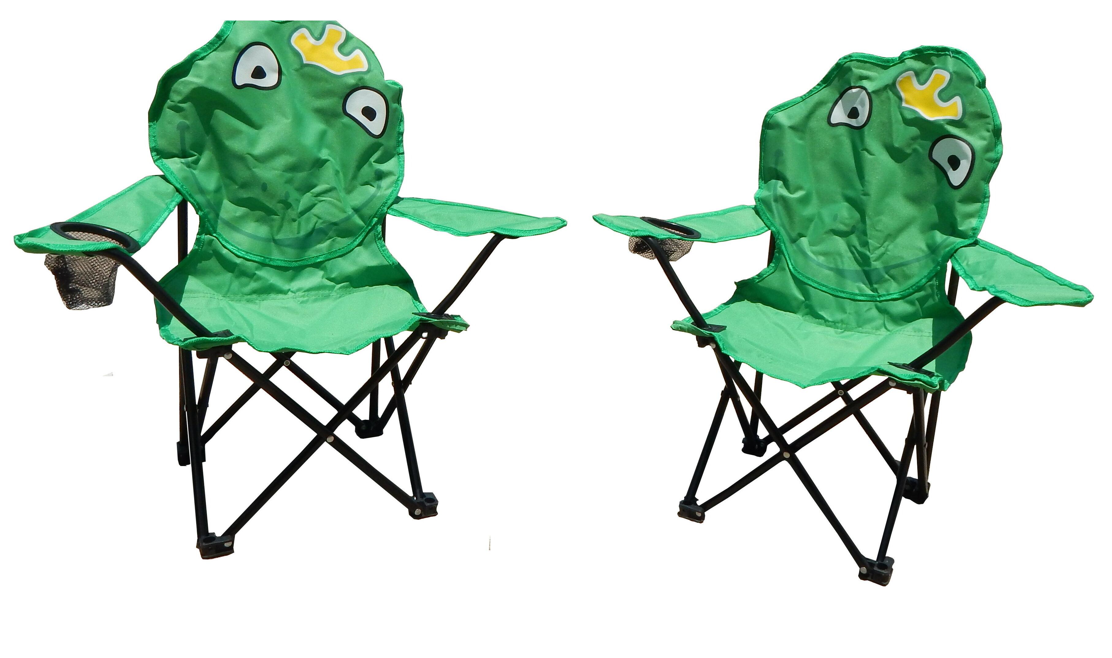 Zoomie Kids Skyler Frog Folding Kids Beach Chair With Cup Holder