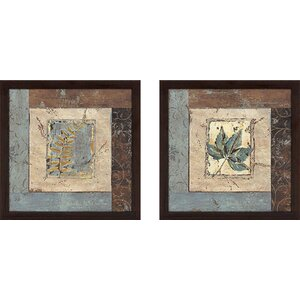 'Blue Brown Fern IV' 2 Piece Framed Acrylic Painting Print Set Under Glass by Andover Mills