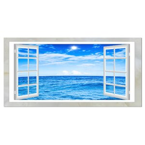 Window Open to Blue Wavy Ocean Graphic Art on Wrapped Canvas by Design Art