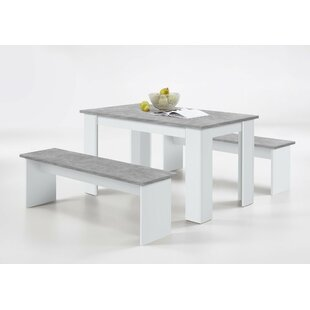 Attirant Lystra Dining Set With 2 Benches
