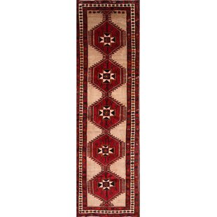 One-of-a-Kind Orly Traditional Ardebil Persian Hand-Knotted Runner 3'8 x 12'9 Wool Red/Cream Area Rug by Isabelline