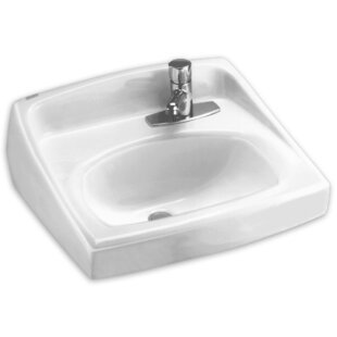 Compare prices Lucerne Ceramic 21 Wall Mount Bathroom Sink with Overflow By American Standard
