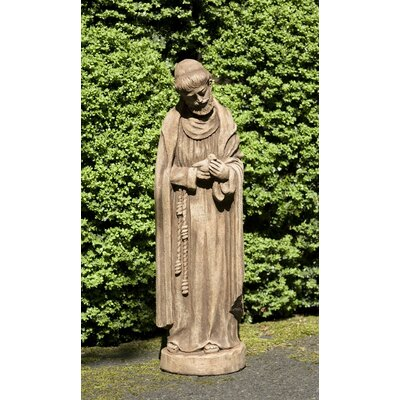 St Francis with Baby Bird Statue Campania International Color: Aged Limestone -  R-101-AL