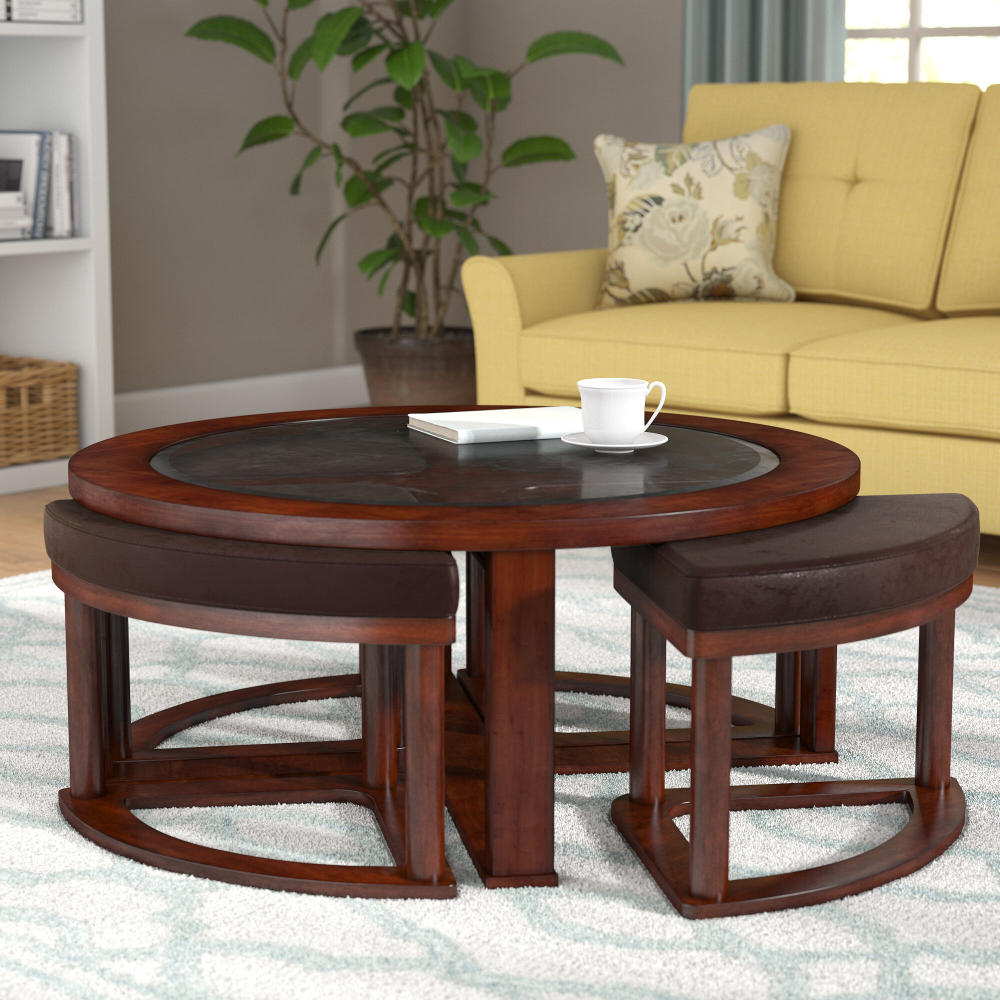 Darby Home Co Eastin Coffee Table With Nested Stools Reviews Wayfair - Round cocktail table with stools