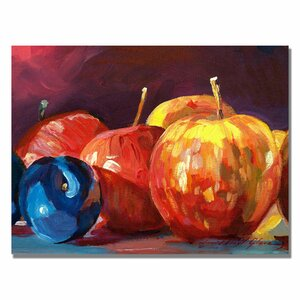 'Ripe Plums and Apples' by David Lloyd Glover Painting Print on Canvas by Trademark Fine Art