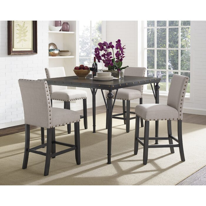 Fantastic Haysi Wood Counter Height 5 Piece Dining Set With Fabric Nailhead Chairs Bralicious Painted Fabric Chair Ideas Braliciousco