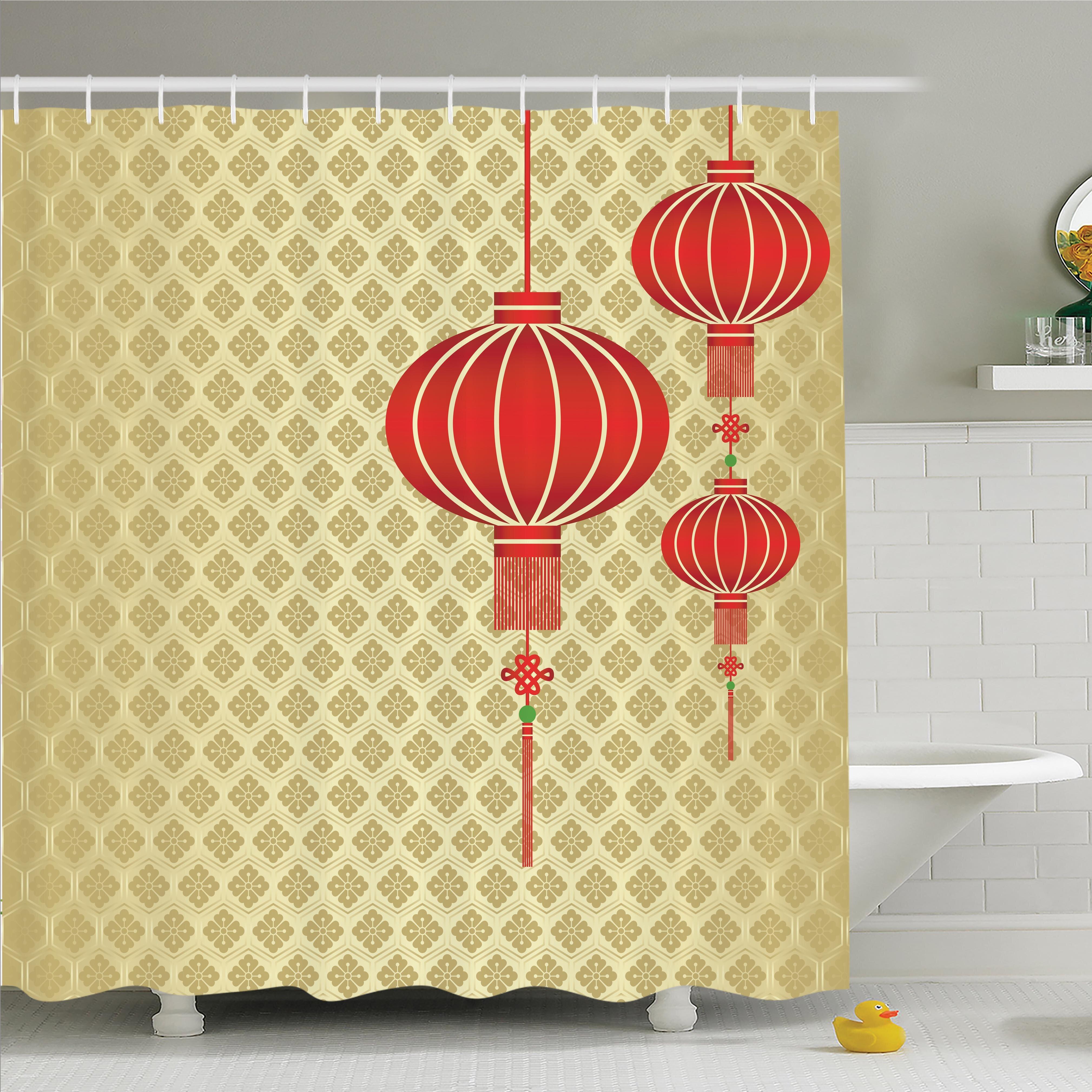 Ambesonne Chinese Lantern Baroque Artsy Shower Curtain Set