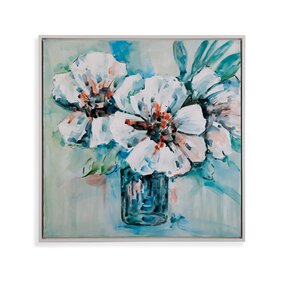 Thoroughly Modern Flowers in White Framed Painting by Bassett Mirror