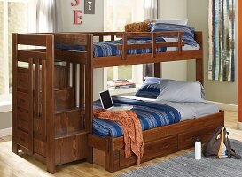 Twin over Full Bunk Bed with Reversible Stairway and Under Storage by Chelsea Home