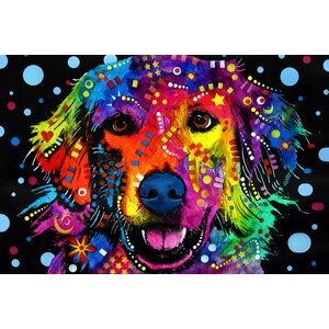 'Golden Retriever' by Dean Russo Graphic Art on Wrapped Canvas by Wrought Studio