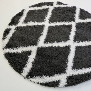 Look for Gessner Modern Shaggy Dark Gray/White Area Rug By Ivy Bronx
