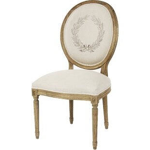 Medallion Side Chair In Linen - Printed Natural