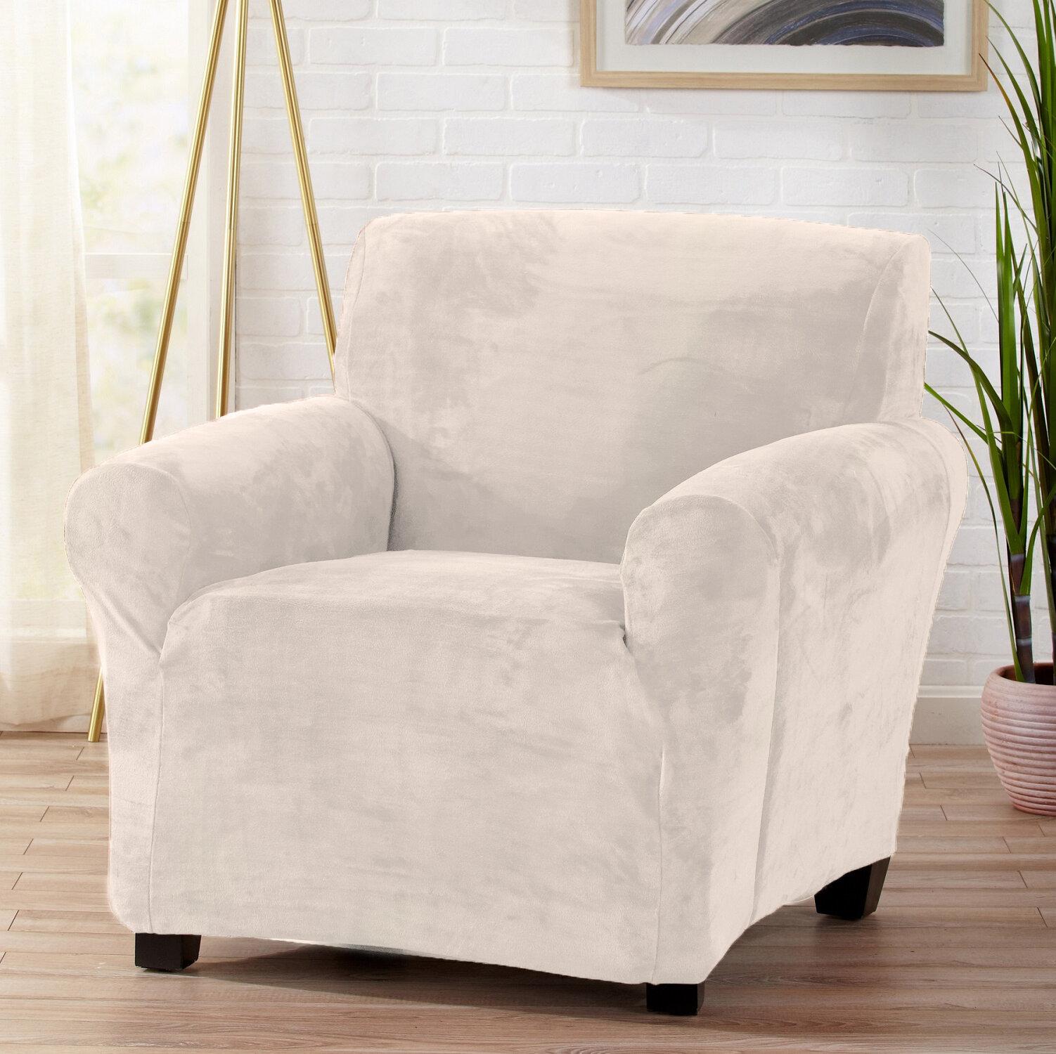 Symple Stuff Velvet Plush Form Fit Stretch T Cushion Armchair Slipcover Reviews Wayfair