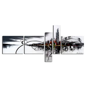 'Cityscape' 5 Piece Graphic Art on Wrapped Canvas Set by Latitude Run