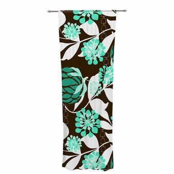 Kess InHouse Love Midge 70s Geometric Green Floral Decorative Set 30 x 84 Sheer Curtains