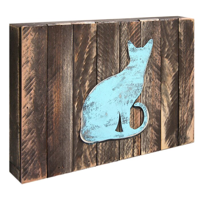 NEW You Had Me At Meow Cat Blue Standing Sign Plaque Decoration Wooden