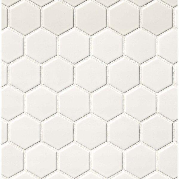 Pentagon Shaped Pattern On A Stone Floor Flooring : Msi hexagon quot porcelain mosaic tile in matte white